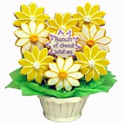 Personalized Bunch of Good Wishes Daisy Sugar Cookie Bouquet