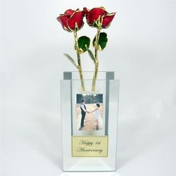 His and Hers Gold-Trimmed Red Roses