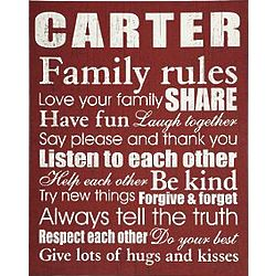 Personalized Family Rules 11x14 Burgundy Canvas