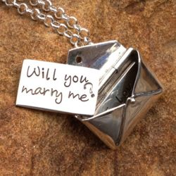 Will You Marry Me? Sterling Silver Love Note Necklace