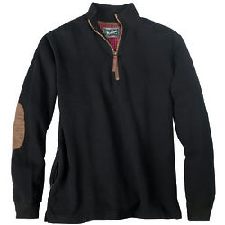Men's Rib Knit Collar Zip Neck Pull-Over