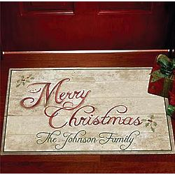 Personalized Happy Holidays Festive Doormat