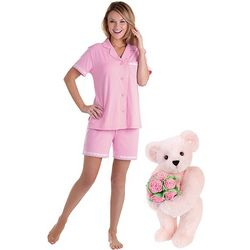 "15"" Pink Rose Bouquet Teddy Bear & Womens XS Pin Dot Short Set"