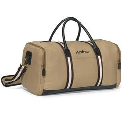 Personalized Khaki Duffel Bag