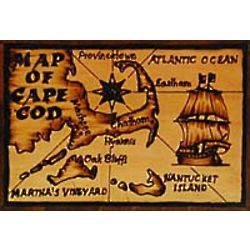 Cape Cod Map Leather Photo Album in Natural