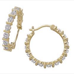 Gold Plated Diamond Hoop Earrings