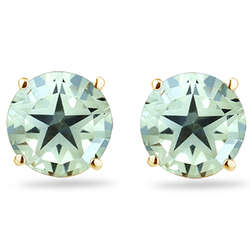 Green Amethyst Star Stud Earrings