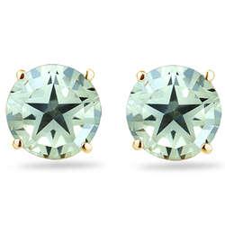 Green Amethyst Star Stud Earrings