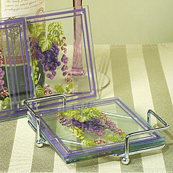Glass Coasters with Grapes Design