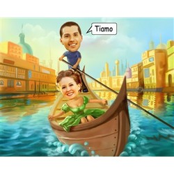 Love in a Gondola Caricature Print from Photos