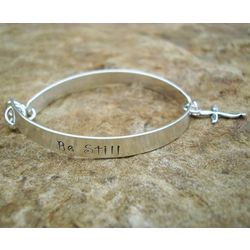 """Be Still and Know That I Am"" Sterling Bracelet with Cross Charm"