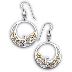"Sterling Silver Two Tone ""Celtic Wave"" Earrings"