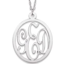 Sterling Silver 3 Initial Monogram Pendant