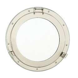 """11"""" Nickel Porthole Mirror"""
