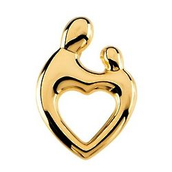 Mother and Child Large Heart Pendant in 14k Gold