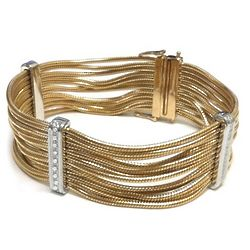 Diamond Bar and Yellow Stainless Steel Multi Strand Bracelet
