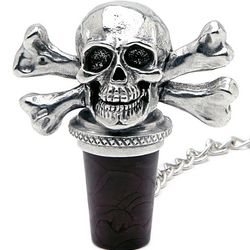 Skull and Crossbones Pewter Wine Stopper