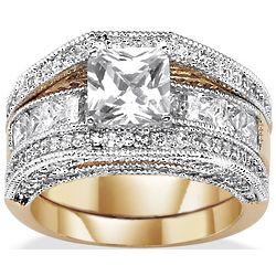 Princess-Cut Cubic Zirconia Wedding Band Set