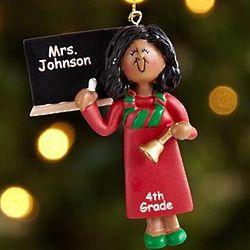 Female African American Personalized Teacher Ornament