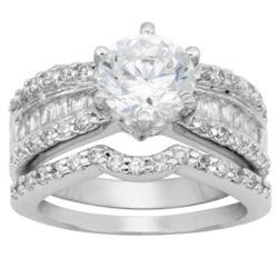 Silvertone Brilliant Round Cubic Zirconia 2-Piece Wedding Ring