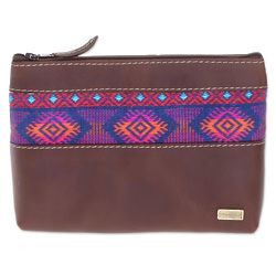 San Marcos Diamonds Cotton Accent Leather Cosmetic Bag
