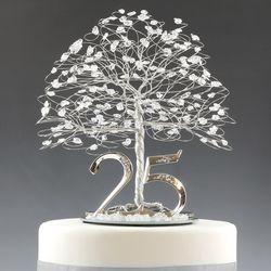 Silver 25th Anniversary Tree / Cake Topper