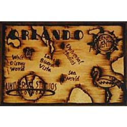 Orlando Map Leather Photo Album in Natural