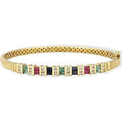 18k Gold Emerald, Ruby and Sapphire Bangle Bracelet