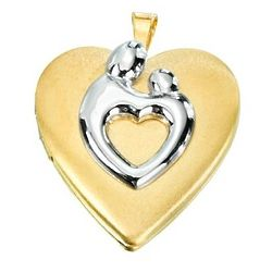 Two Tone Mother and Child Heart Locket