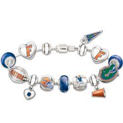 Go Gators! #1 Fan Charm Bracelet with Swarovski Crystals