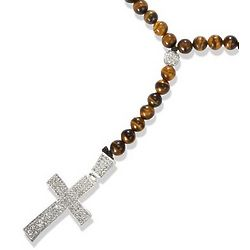 Tiger Eye Beaded Rosary Necklace with Crystal Cross