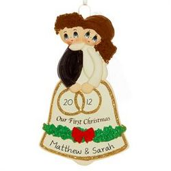 Personalized Wedding Bell Couple Christmas Ornament
