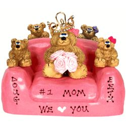 Personalized # 1 Mom Bears on Solid Chair with 1-6 Kids