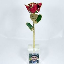 Red Rose in Vase with Memorial Photo