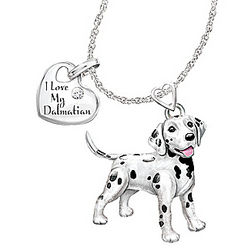 Dalmatian Playful Pup Diamond Pendant Necklace