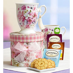 Radiant Roses Tea and Shortbread Gift Tower
