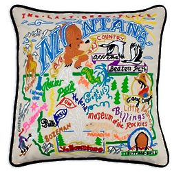 Hand Embroidered Montana State Pillow