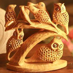 Owls in a Tree Wood Statuette