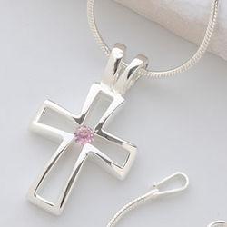 Silver Christian Cross Necklace with Swarovski Birthstone