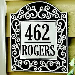 Personalized Number and Name Scroll Tile Address Plaque