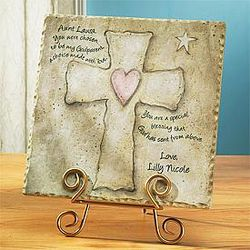 Personalized Godparent Cross Tile