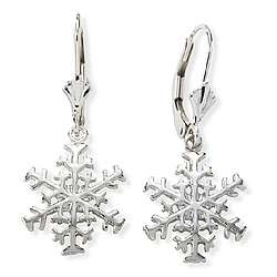 14k White Gold Snowflake Earrings