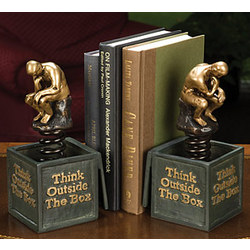 Think Outside the Box Bookend Sculpture