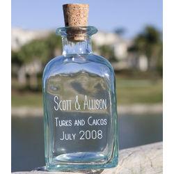Engraved Recycled Glass Rectangular Keepsake Bottle