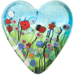 Mouth-Blown Meadow Heart Paperweight