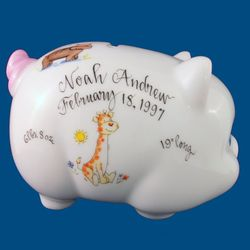 Personalized Hand Painted Porcelain Piggy Bank