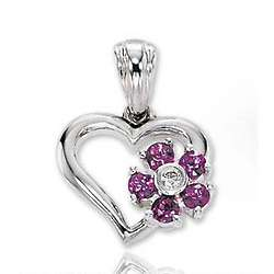 14k White Gold Five Sapphire Flower Diamond Heart Pendant