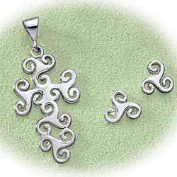Sterling Silver Triskel Cross Pendant