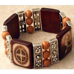 St. Benedict Tan Bead Wood Bracelet