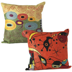 Miro or Klimt Artist Pillow